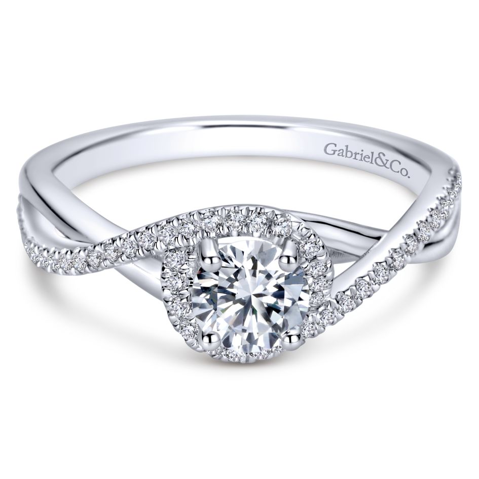 Gabriel Bridal Collection White Gold Halo Engagement Ring (0.15 ctw)