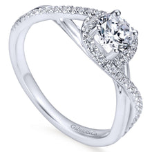 Load image into Gallery viewer, Gabriel Bridal Collection White Gold Halo Engagement Ring (0.15 ctw)