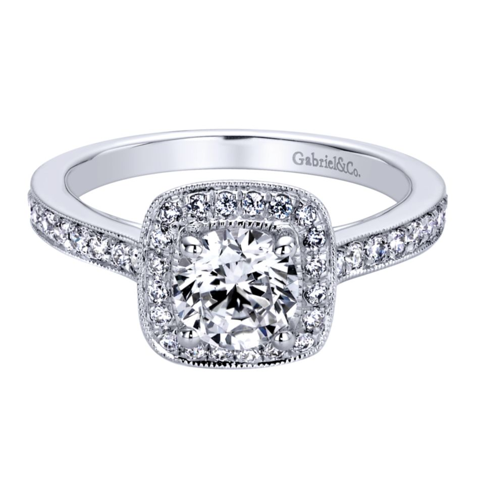 Gabriel Bridal Collection White Gold Halo Engagement Ring (0.36ctw)