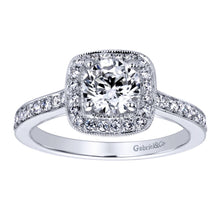 Load image into Gallery viewer, Gabriel Bridal Collection White Gold Halo Engagement Ring (0.36ctw)