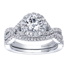 Load image into Gallery viewer, Gabriel Bridal Collection White Gold Halo Engagement Ring (0.3 ctw)