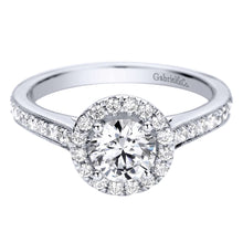 Load image into Gallery viewer, Gabriel Bridal Collection White Gold Halo Engagement Ring (0.39 ctw)