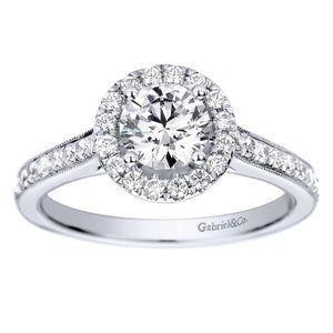 Gabriel Bridal Collection White Gold Halo Engagement Ring (0.39 ctw)