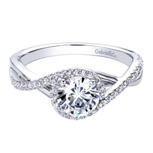Load image into Gallery viewer, Gabriel Bridal Collection White Gold Criss Cross Engagement Ring (0.14 ctw)