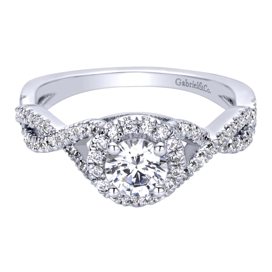 Gabriel Bridal Collection White Gold Halo Engagement Ring (0.25 ctw)