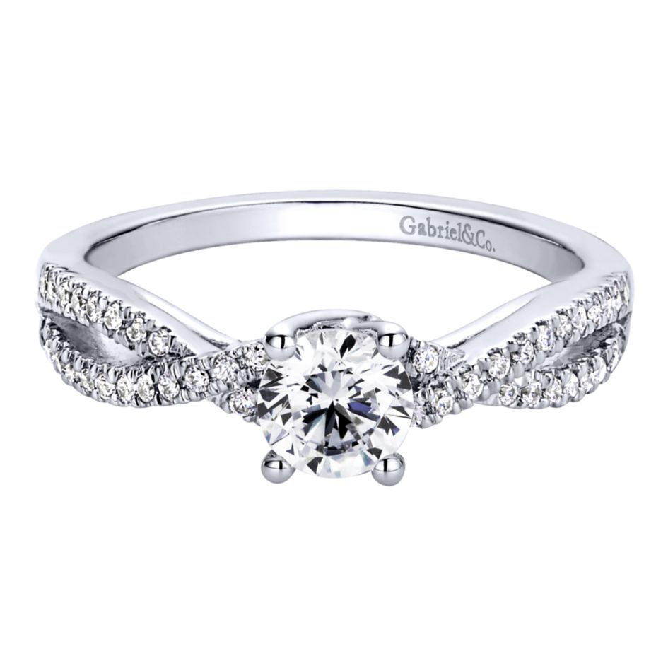 Gabriel Bridal Collection White Gold Criss Cross Engagement Ring (0.18 ctw)