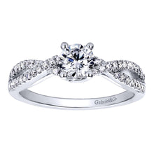Load image into Gallery viewer, Gabriel Bridal Collection White Gold Criss Cross Engagement Ring (0.18 ctw)