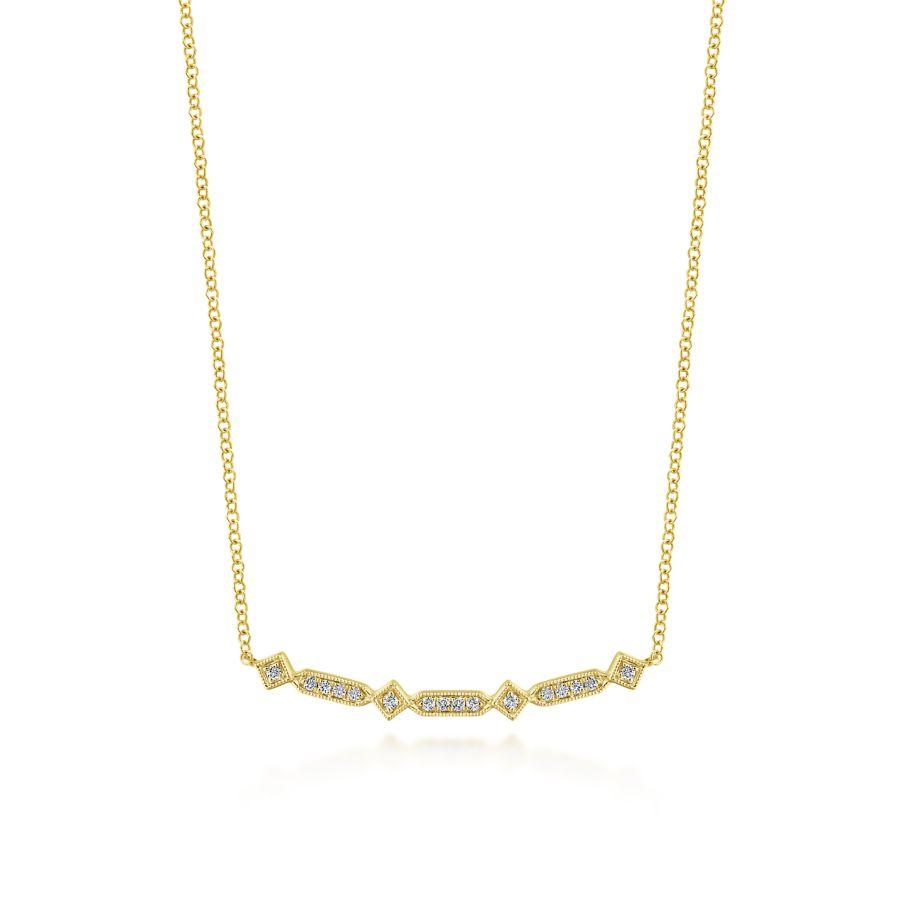 Gabriel & Co. Art Moderne Yellow Gold Necklace (0.08 CTW)