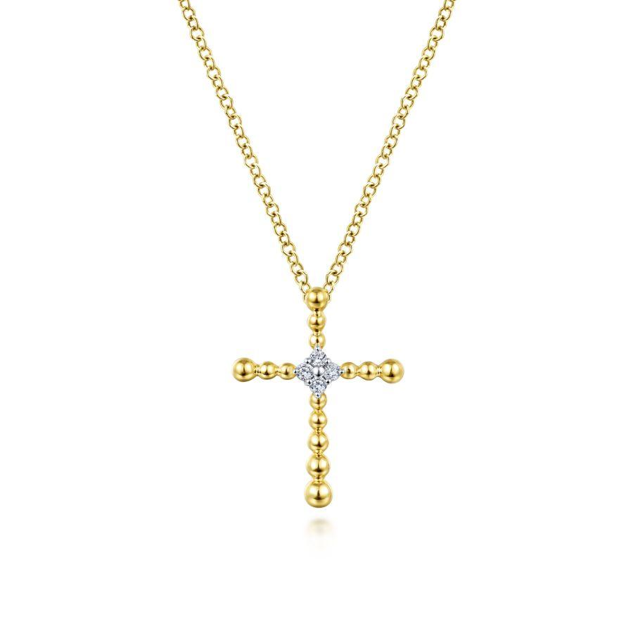 Gabriel & Co. Faith Yellow Gold Necklace (0.04 CTW)