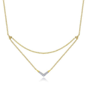 Gabriel & Co. Contemporary Yellow Gold Necklace (0.05 CTW)