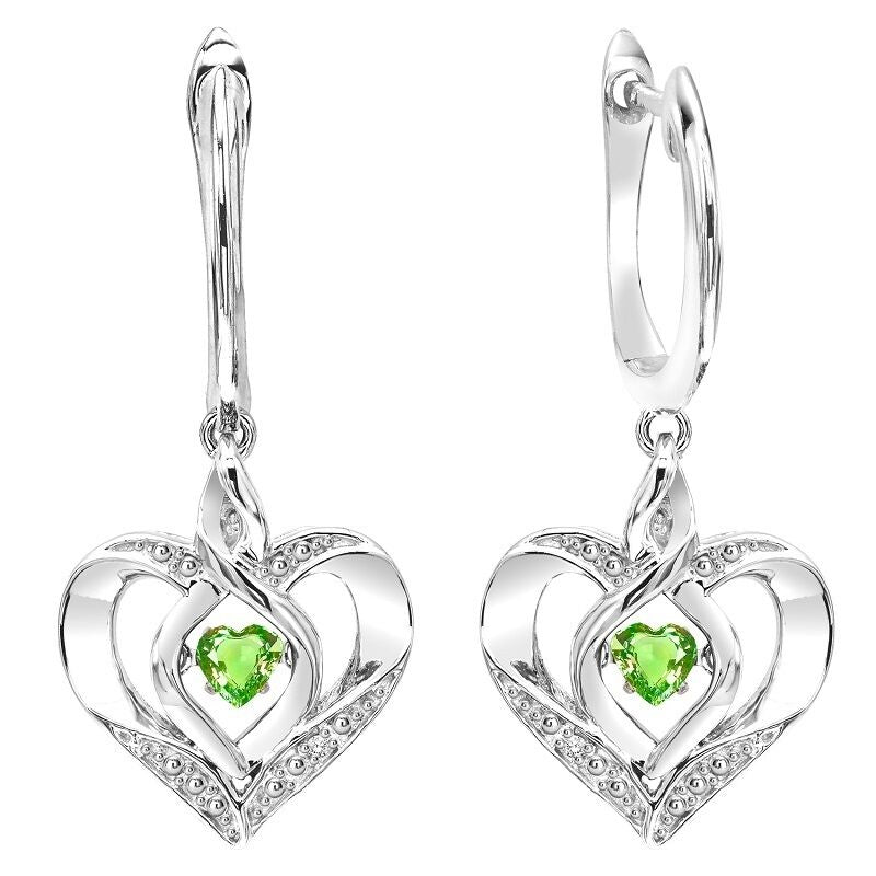 Silver Diamond & Created Peridot Earring