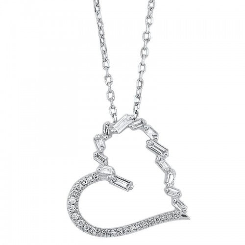 14K White Gold Diamond Heart Shaped Necklace (0.16 ctw)
