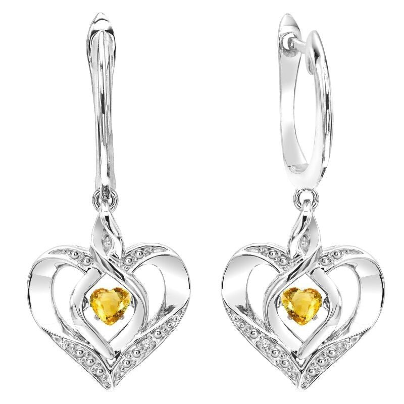 Silver Diamond & Created Citrine Earring