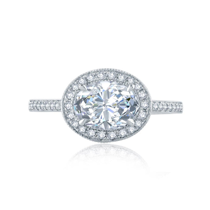 A.JAFFE Art Deco Oval Diamond Diamond Engagement Ring (0.36 ctw)