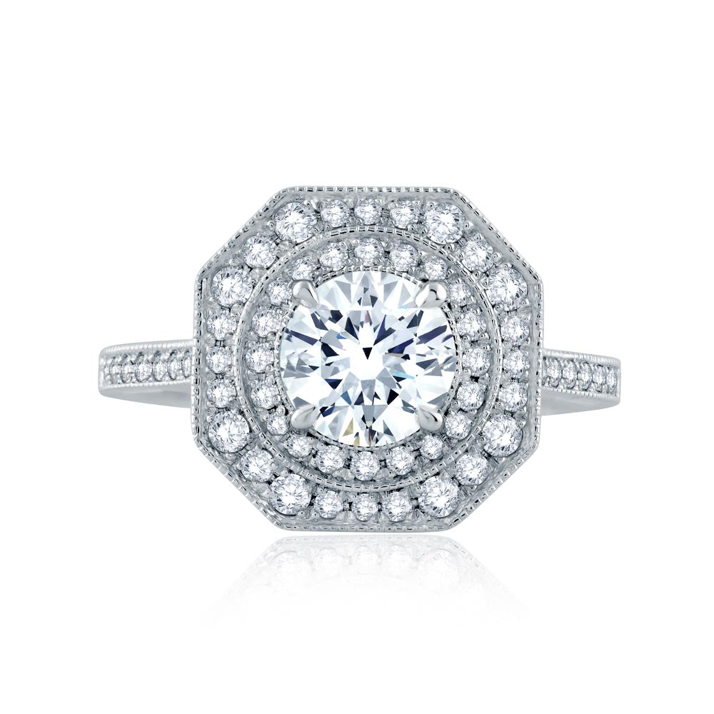 A.JAFFE Art Deco Round Diamond Diamond Engagement Ring (0.44 ctw)