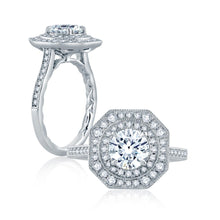 Load image into Gallery viewer, A.JAFFE Art Deco Round Diamond Diamond Engagement Ring (0.44 ctw)