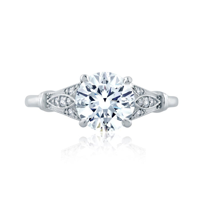A.JAFFE Art Deco Round Diamond Diamond Engagement Ring (0.11 ctw)