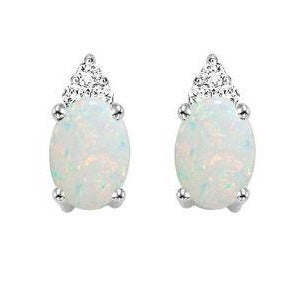 10kt White Gold Prong Opal Earrings 1/25CT