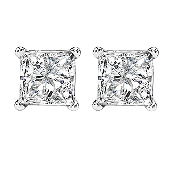14K Princess Cut Diamond Studs (0.25 CTW)