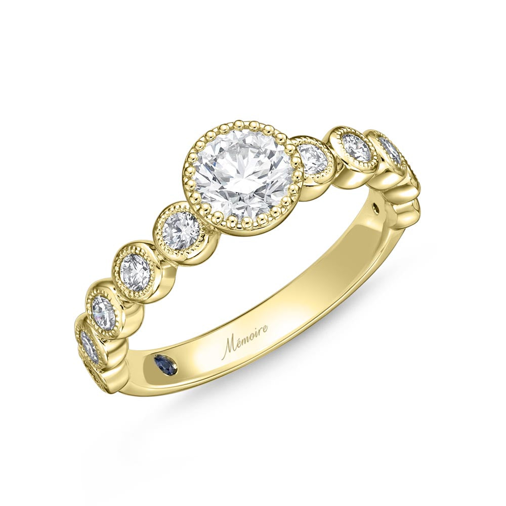 Memoire Toujours Yellow Gold Round Engagement Rings (0.43 ctw)