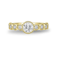 Load image into Gallery viewer, Memoire Toujours Yellow Gold Round Engagement Rings (0.43 ctw)
