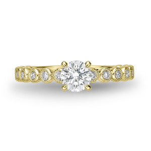 Memoire Toujours Yellow Gold Round Engagement Rings (0.27 ctw)