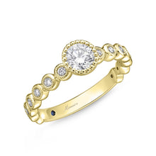 Load image into Gallery viewer, Memoire Toujours Yellow Gold Round Engagement Rings (0.27 ctw)