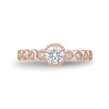 Load image into Gallery viewer, Memoire Toujours Rose Gold Round Engagement Rings (0.27 ctw)