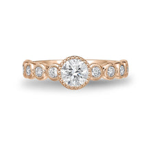 Load image into Gallery viewer, Memoire Toujours Rose Gold Round Engagement Rings (0.43 ctw)