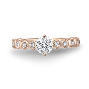 Memoire Toujours Rose Gold Round Engagement Rings (0.35 ctw)