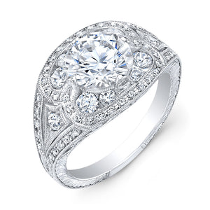 Jolie Designs Round Diamond Vintage Engagement Ring (0.62 CTW)