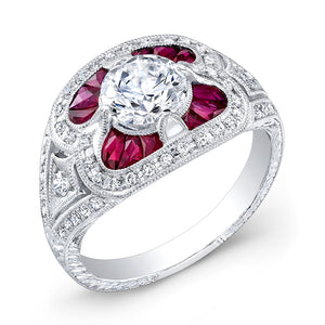 Jolie Designs Round Diamond Vintage Engagement Ring (0.92 CTW)