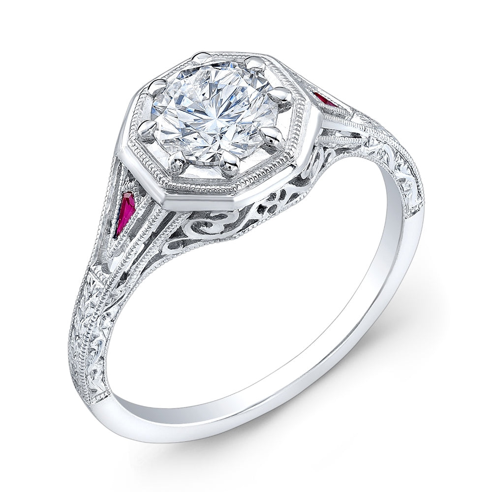 Jolie Designs Round Diamond Vintage Engagement Ring (0.06 CTW)