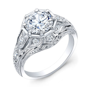 Jolie Designs Round Diamond Vintage Engagement Ring (0.31 CTW)