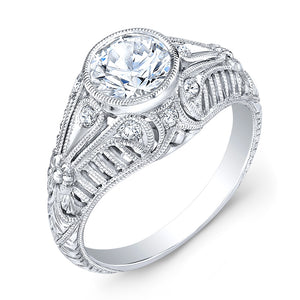 Jolie Designs Round Diamond Vintage Engagement Ring (0.15 CTW)