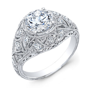 Jolie Designs Round Diamond Vintage Engagement Ring (0.33 CTW)