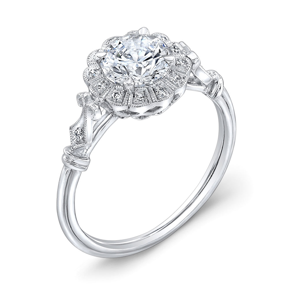 Jolie Designs Round Diamond Vintage Engagement Ring (0.07 CTW)