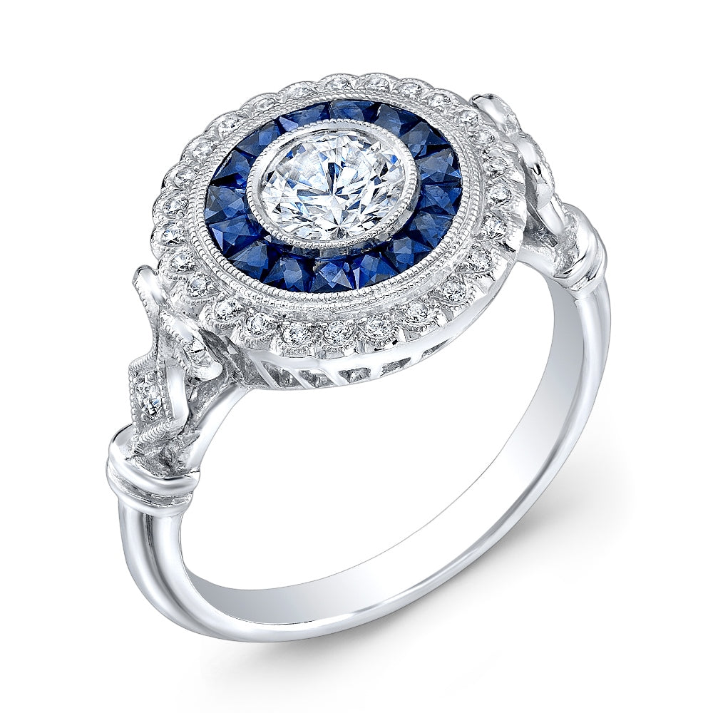 Jolie Designs Round Diamond Vintage Engagement Ring (0.72 CTW)