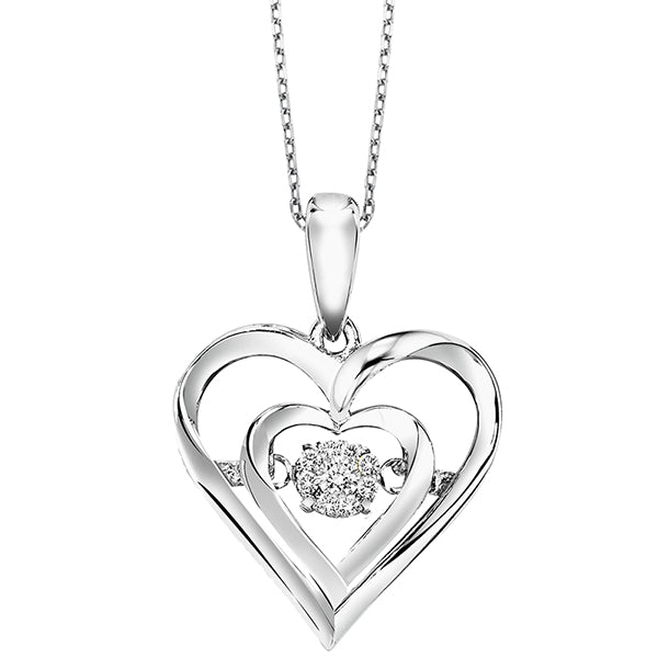 Silver and Diamond Rhythm of Love Pendant