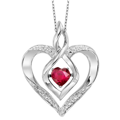 Silver Diamond & Created Ruby Pendant