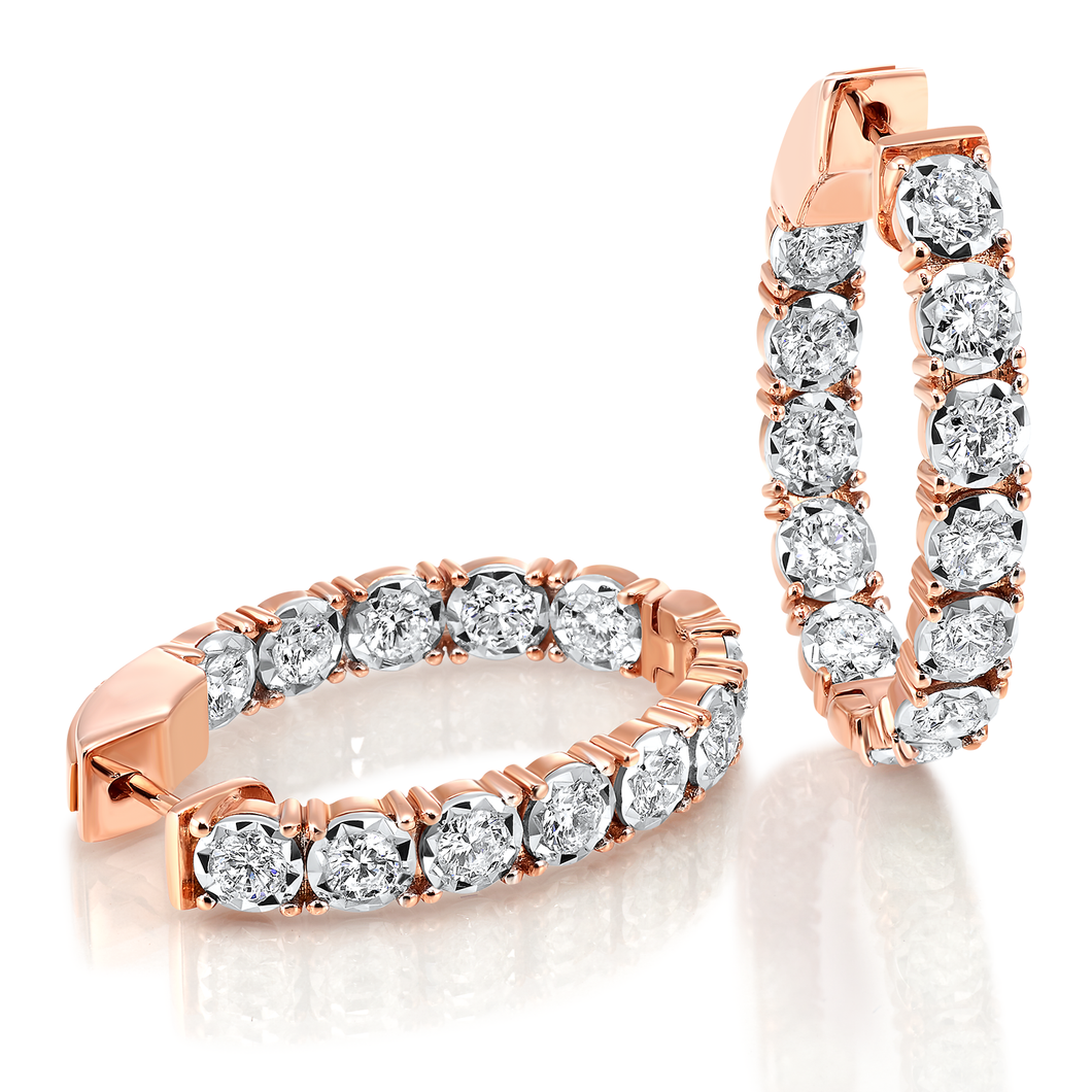 14Kt Rose Gold Diamond Oval Inside Out Hoop Earrings (1 CTW)