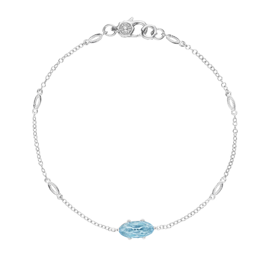 Tacori Horizon Shine Collection Solitaire Oval Gem Bracelet with Sky Blue Topaz