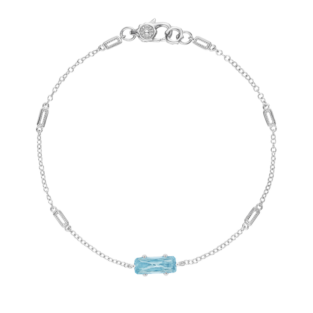 Tacori Horizon Shine Collection Solitaire Emerald Cut Gem Bracelet with Sky Blue Topaz