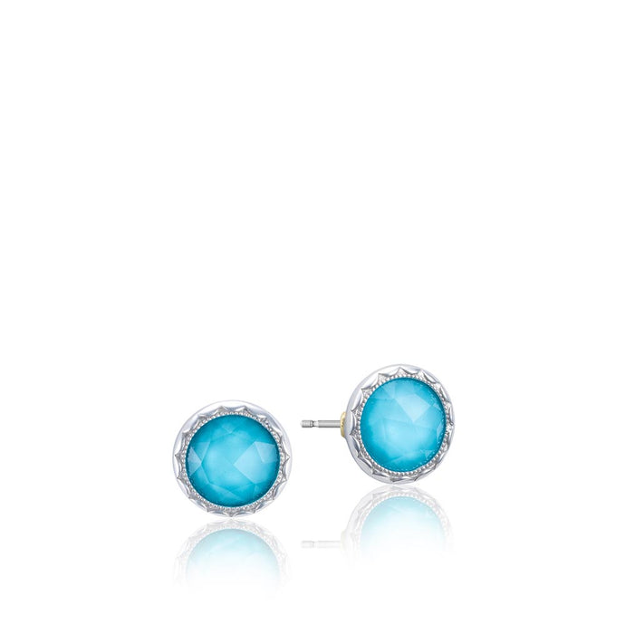 Tacori Crescent Embrace Bezel Studs featuring Neo-Turquoise