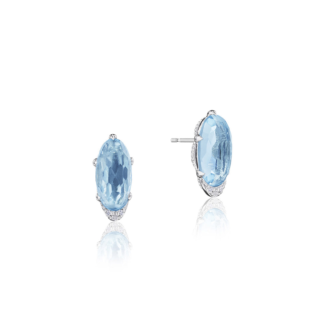 Tacori Horizon Shine Collection Oval-Shaped Gem Earrings with Sky Blue Topaz