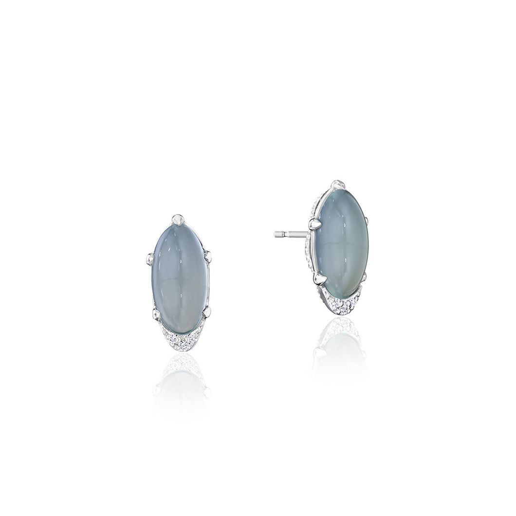 Tacori Horizon Shine Collection Oval-Shaped Gem Earrings with Green Chalcedony