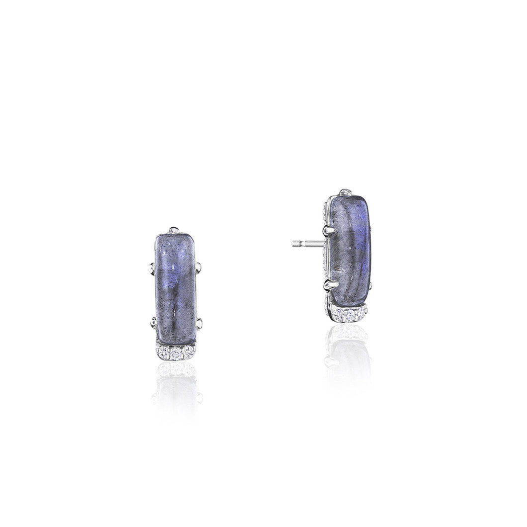 Tacori Horizon Shine Collection Emerald-Shaped Gem Earrings with Labradorite