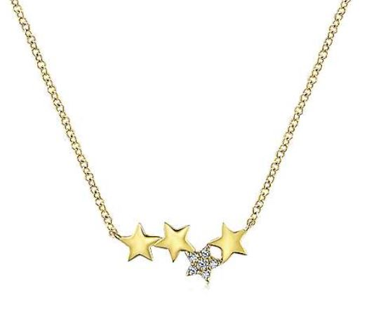 14K Yellow Gold Four Star Diamond Bar Necklace
