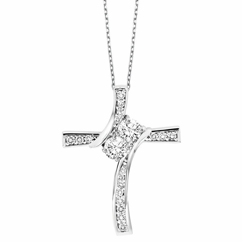 14K Diamond Two Stone Pendant (0.75 CTW)