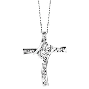 14K Diamond Two Stone Pendant (1 CTW)